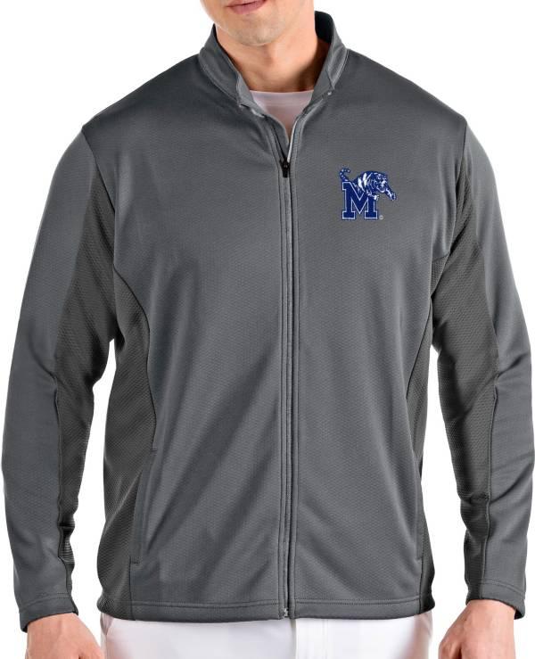 Antigua Men's Memphis Tigers Grey Passage Full-Zip Jacket product image