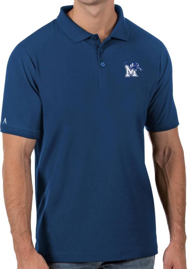 Antigua Men's Memphis Tigers Blue Legacy Pique Polo product image