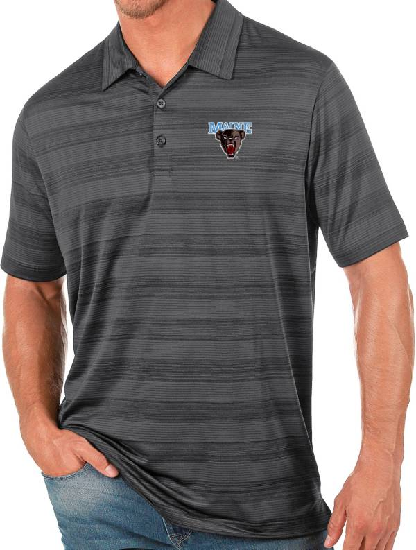 Antigua Men's Maine Black Bears Grey Compass Polo product image