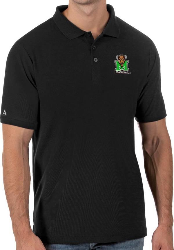 Antigua Men's Marshall Thundering Herd Legacy Pique Black Polo product image