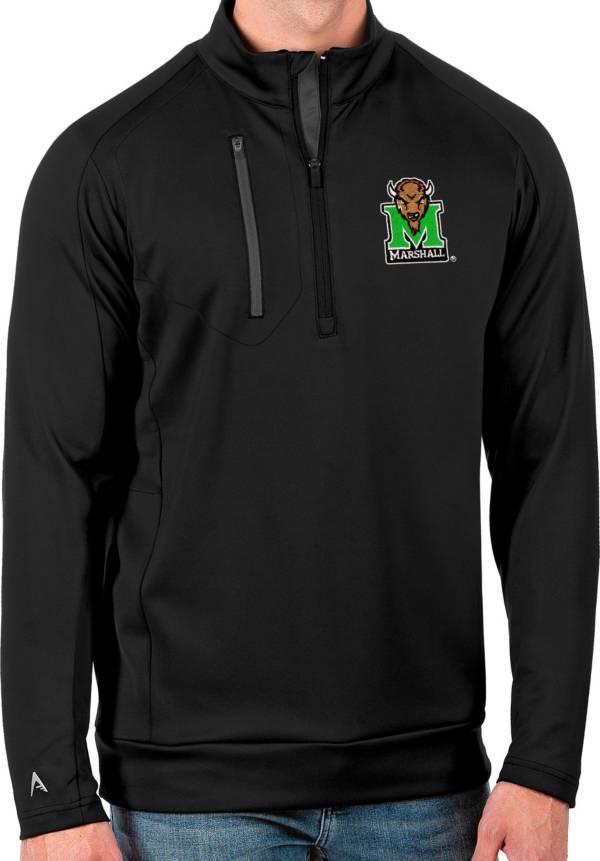 Antigua Men's Marshall Thundering Herd Black Generation Half-Zip Pullover Shirt product image
