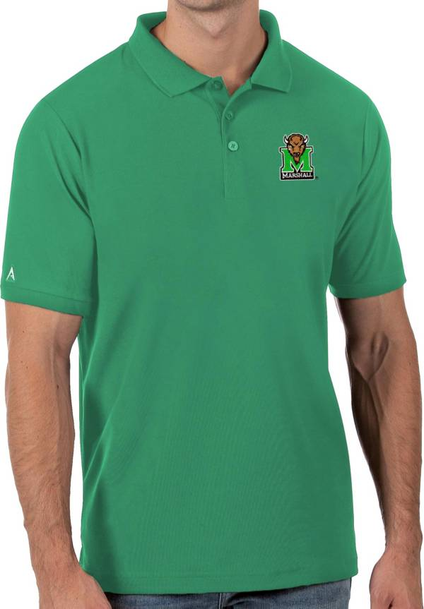 Antigua Men's Marshall Thundering Herd Green Legacy Pique Polo product image