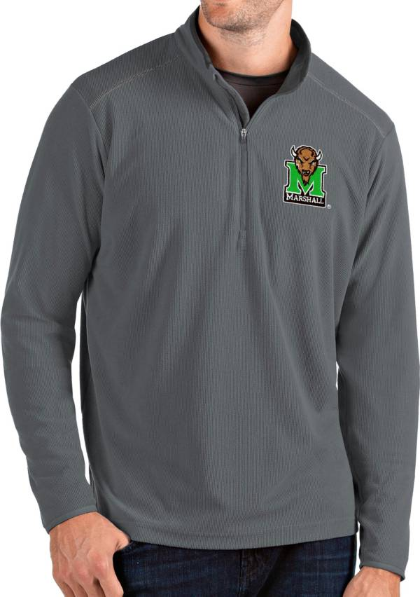 Antigua Men's Marshall Thundering Herd Grey Glacier Quarter-Zip Shirt product image