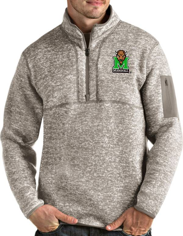 Antigua Men's Marshall Thundering Herd Oatmeal Fortune Pullover Black Jacket product image