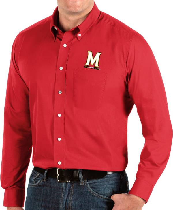 Antigua Men's Maryland Terrapins Red Dynasty Long Sleeve Button-Down Shirt product image