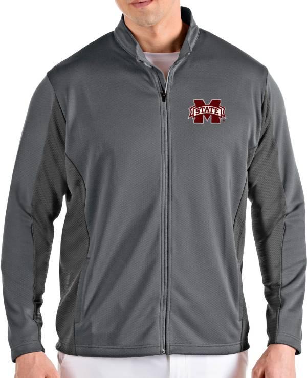 Antigua Men's Mississippi State Bulldogs Grey Passage Full-Zip Jacket product image