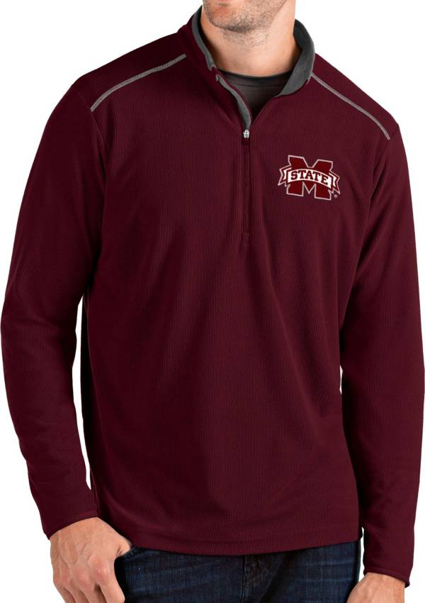 Antigua Men's Mississippi State Bulldogs Maroon Glacier Quarter-Zip Shirt product image