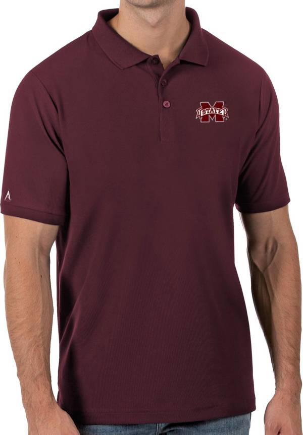Antigua Men's Mississippi State Bulldogs Maroon Legacy Pique Polo product image