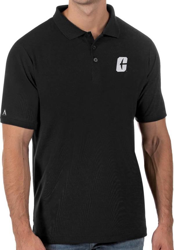 Antigua Men's Charlotte 49ers Legacy Pique Black Polo product image