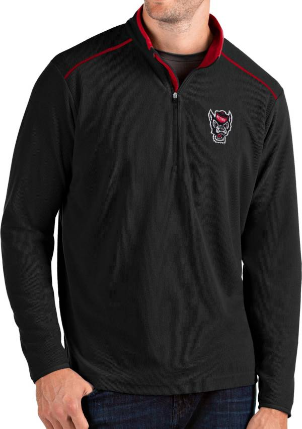 Antigua Men's NC State Wolfpack Glacier Quarter-Zip Black Shirt product image