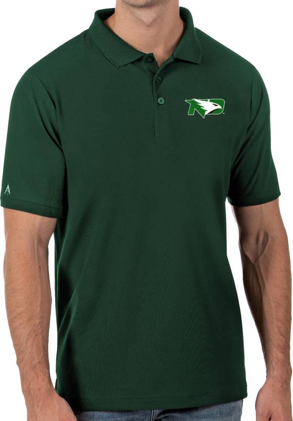 Antigua Men's North Dakota Fighting Hawks Green Legacy Pique Polo product image