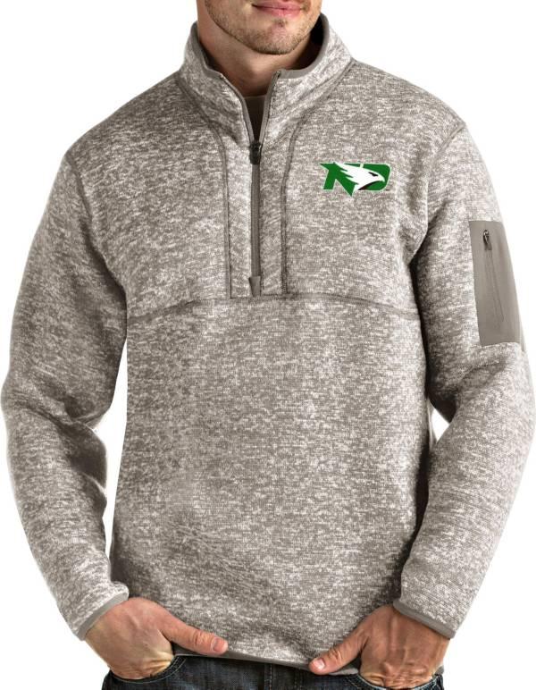 Antigua Men's North Dakota Fighting Hawks Oatmeal Fortune Pullover Black Jacket product image