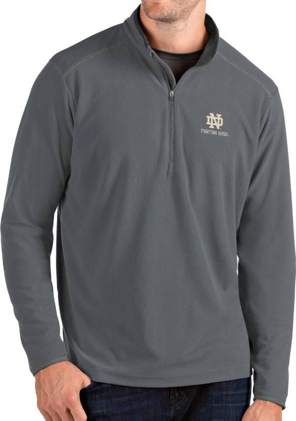 Antigua Men's Notre Dame Fighting Irish Grey Glacier Quarter-Zip Shirt product image