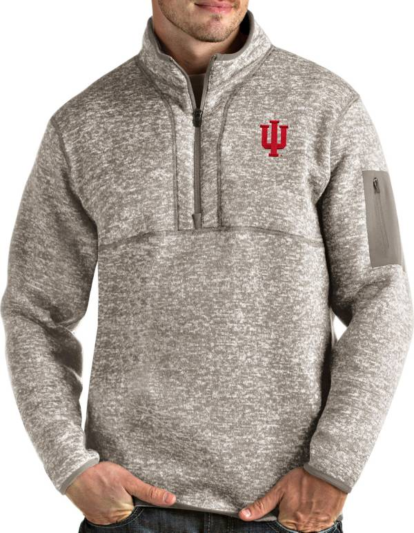 Antigua Men's Indiana Hoosiers Oatmeal Fortune Pullover Black Jacket product image