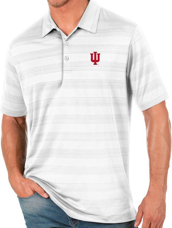 Antigua Men's Indiana Hoosiers White Compass Polo product image
