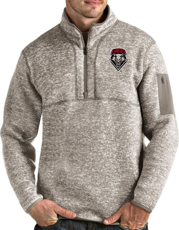 Antigua Men's New Mexico Lobos Oatmeal Fortune Pullover Black Jacket product image