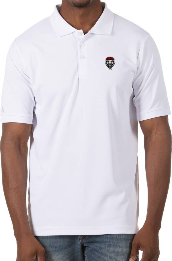 Antigua Men's New Mexico Lobos Legacy Pique White Polo product image