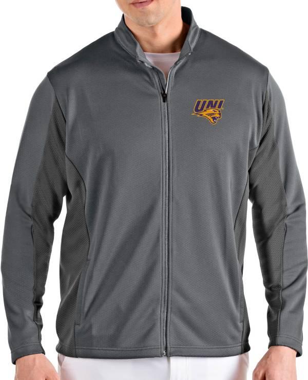 Antigua Men's Northern Iowa Panthers  Grey Passage Full-Zip Jacket product image