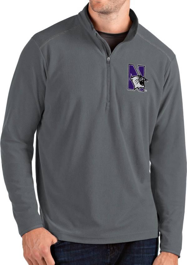 Antigua Men's Northwestern Wildcats Grey Glacier Quarter-Zip Shirt product image