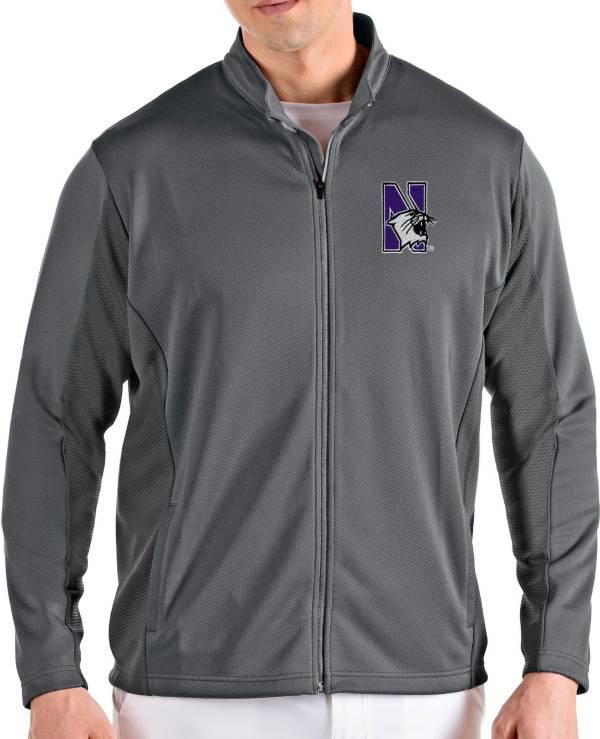 Antigua Men's Northwestern Wildcats Grey Passage Full-Zip Jacket product image