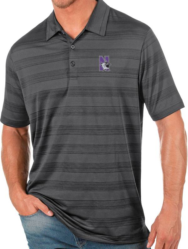 Antigua Men's Northwestern Wildcats Grey Compass Polo product image