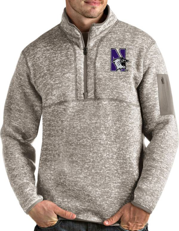 Antigua Men's Northwestern Wildcats Oatmeal Fortune Pullover Black Jacket product image