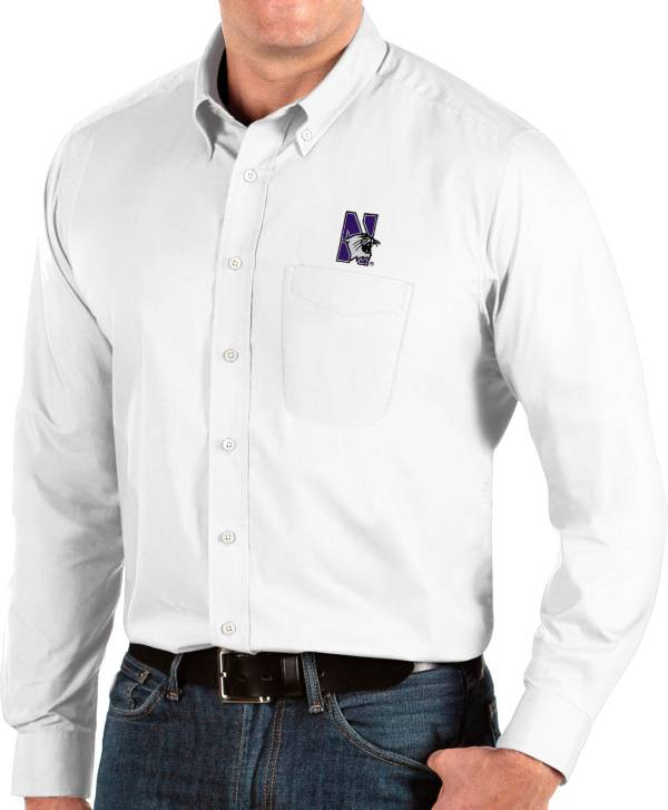 Antigua Men's Northwestern Wildcats Dynasty Long Sleeve Button-Down White Shirt product image