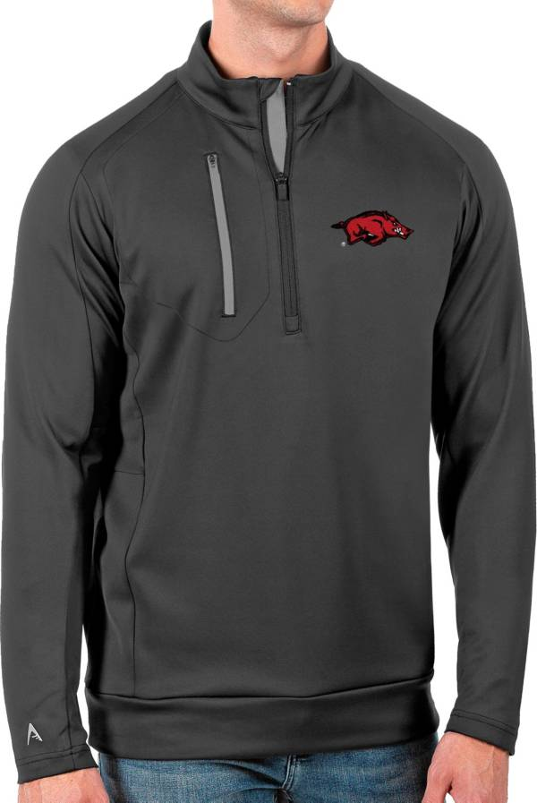 Antigua Men's Arkansas Razorbacks Grey Generation Half-Zip Pullover Shirt product image