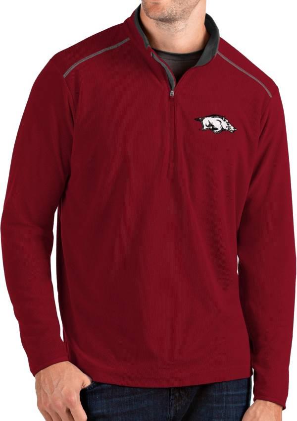 Antigua Men's Arkansas Razorbacks Cardinal Glacier Quarter-Zip Shirt product image