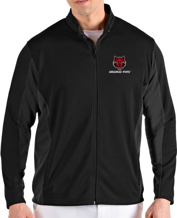 Antigua Men's Arkansas State Red Wolves Passage Full-Zip Black Jacket product image