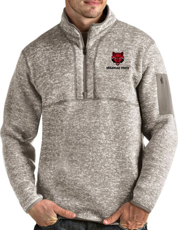 Antigua Men's Arkansas State Red Wolves Oatmeal Fortune Pullover Black Jacket product image