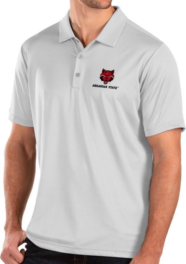 Antigua Men's Arkansas State Red Wolves Balance White Polo product image