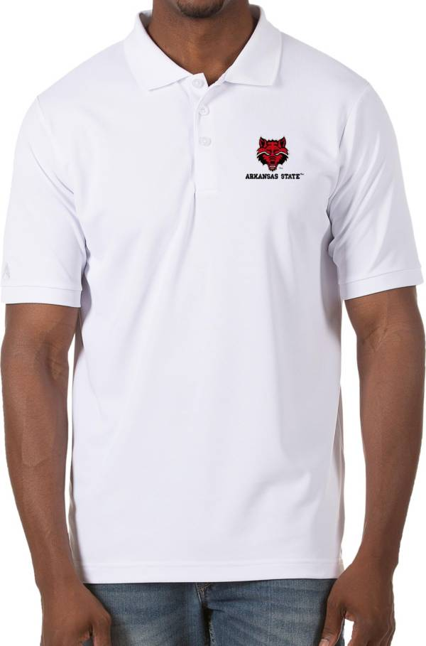 Antigua Men's Arkansas State Red Wolves Legacy Pique White Polo product image