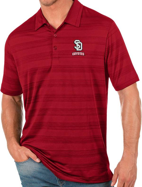 Antigua Men's South Dakota Coyotes Red Compass Polo product image