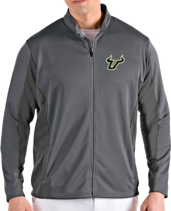 Antigua Men's South Florida Bulls Grey Passage Full-Zip Jacket product image