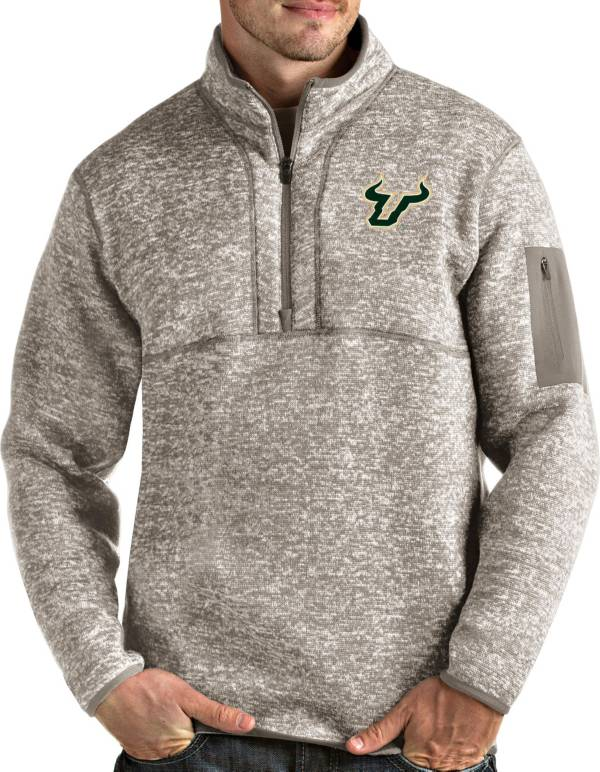 Antigua Men's South Florida Bulls Oatmeal Fortune Pullover Black Jacket product image