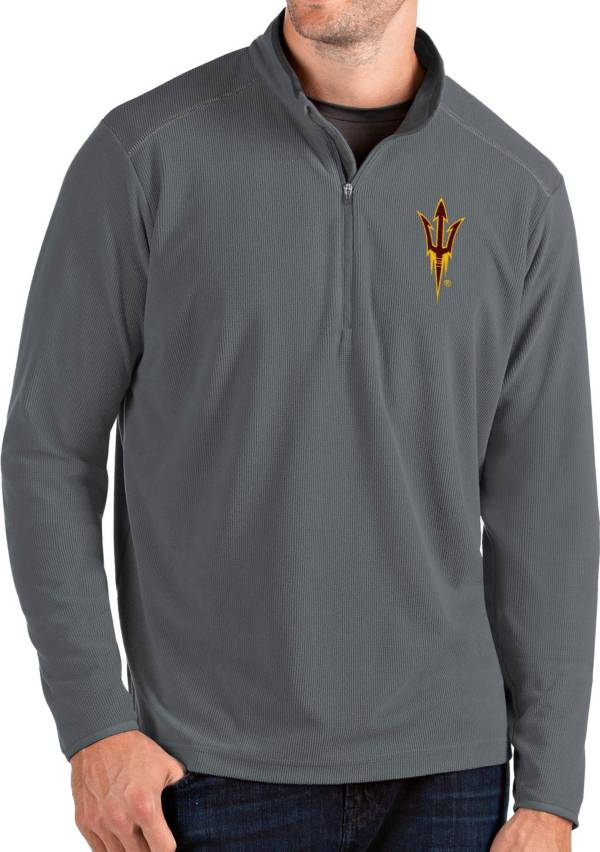Antigua Men's Arizona State Sun Devils Grey Glacier Quarter-Zip Shirt product image