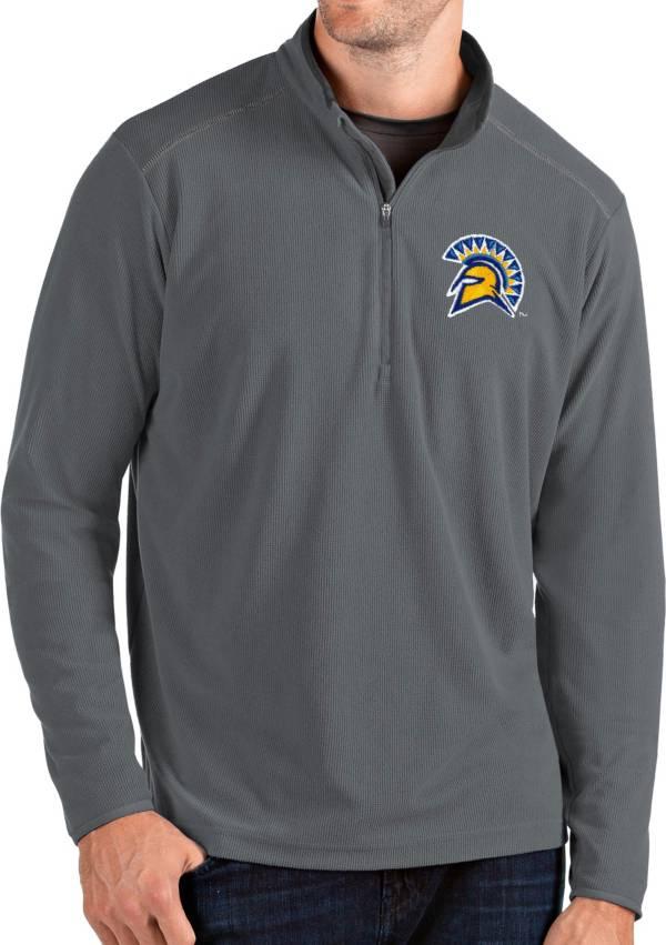 Antigua Men's San Jose State  Spartans Grey Glacier Quarter-Zip Shirt product image
