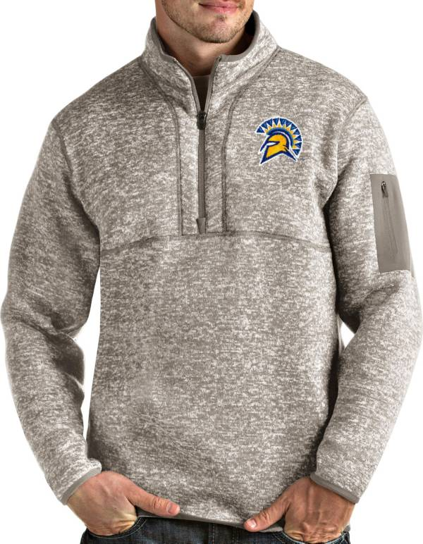 Antigua Men's San Jose State  Spartans Oatmeal Fortune Pullover Black Jacket product image