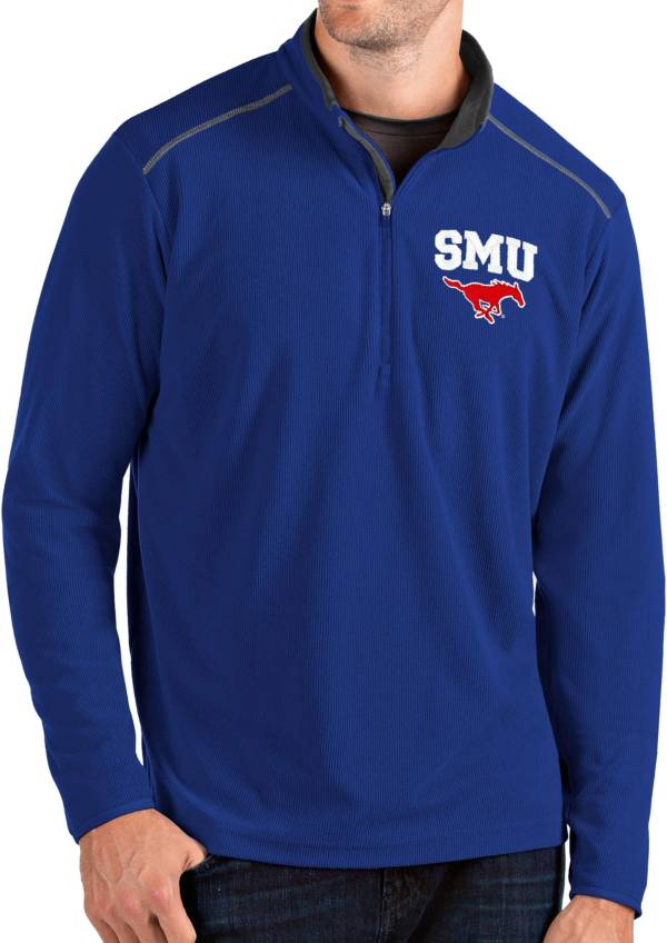 Antigua Men's Southern Methodist Mustangs Blue Glacier Quarter-Zip Shirt product image