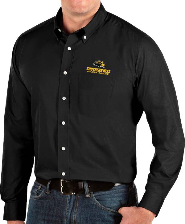 Antigua Men's Southern Miss Golden Eagles Dynasty Long Sleeve Button-Down Black Shirt product image