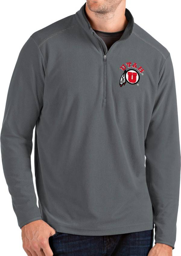 Antigua Men's Utah Utes Grey Glacier Quarter-Zip Shirt product image