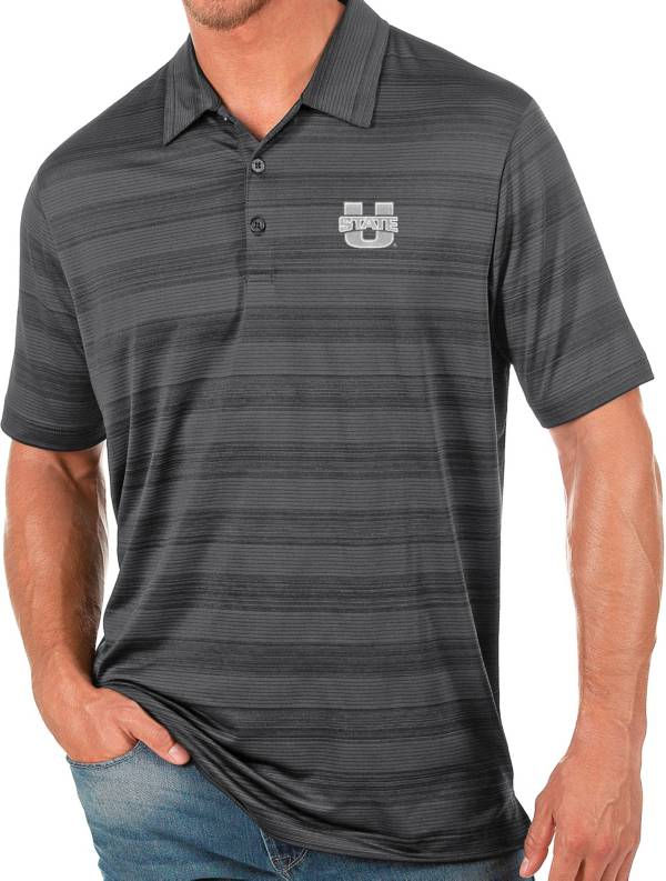 Antigua Men's Utah State Aggies Grey Compass Polo product image