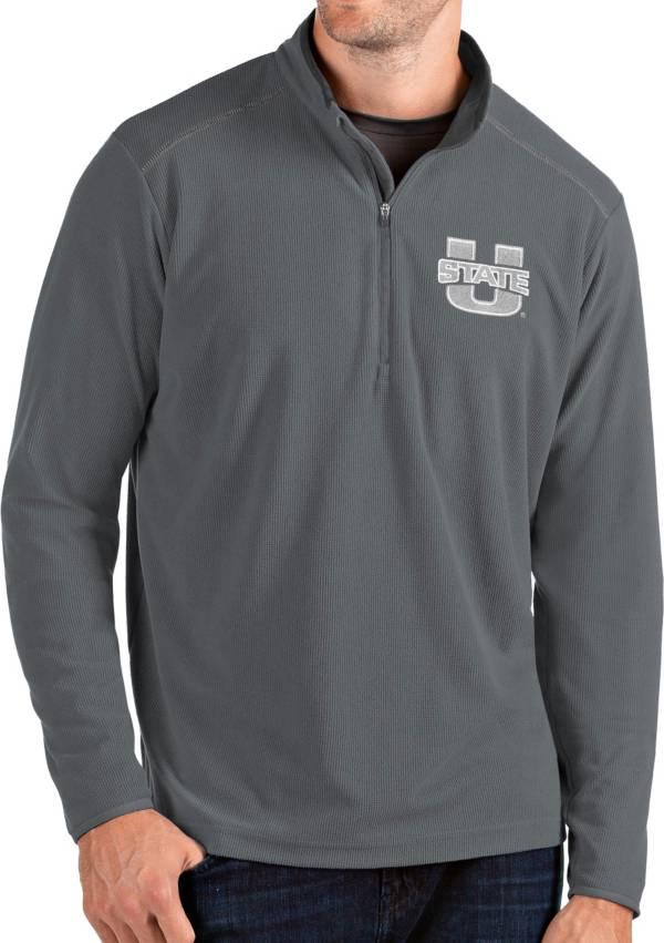Antigua Men's Utah State Aggies Grey Glacier Quarter-Zip Shirt product image