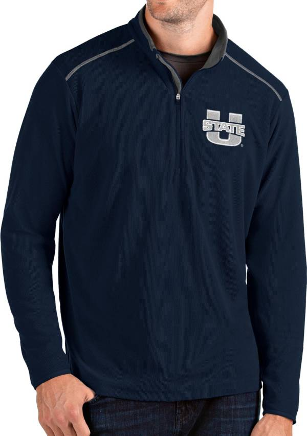 Antigua Men's Utah State Aggies Blue Glacier Quarter-Zip Shirt product image