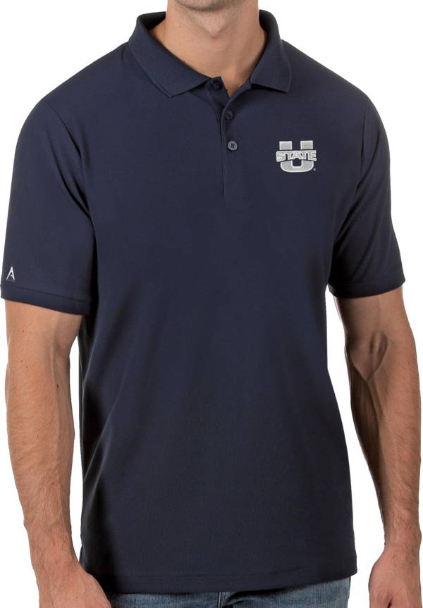 Antigua Men's Utah State Aggies Blue Legacy Pique Polo product image