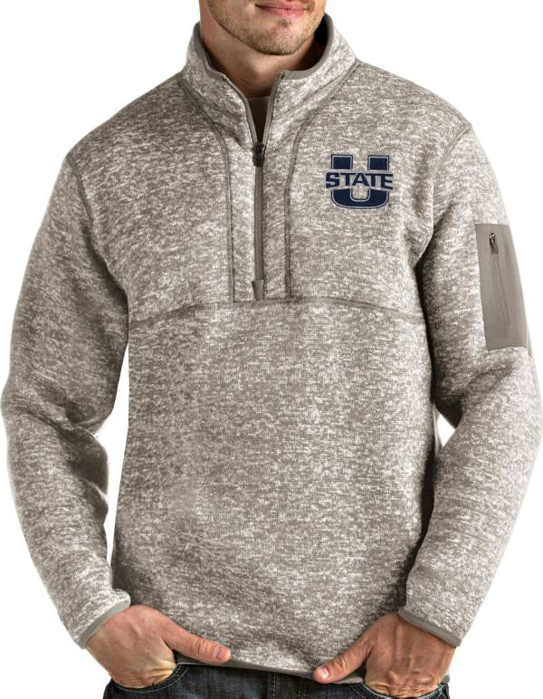Antigua Men's Utah State Aggies Oatmeal Fortune Pullover Black Jacket product image