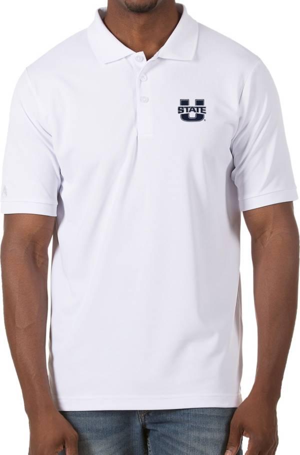 Antigua Men's Utah State Aggies Legacy Pique White Polo product image