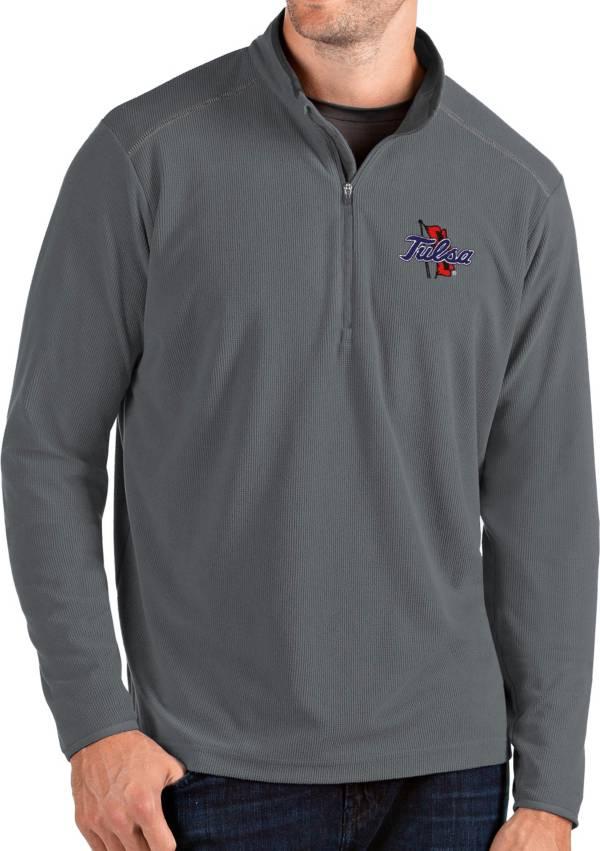 Antigua Men's Tulsa Golden Hurricane Grey Glacier Quarter-Zip Shirt product image
