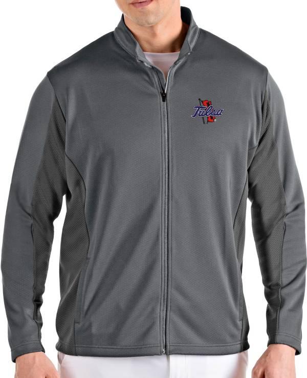 Antigua Men's Tulsa Golden Hurricane Grey Passage Full-Zip Jacket product image